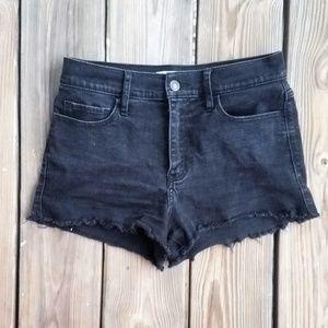 Abercrombie High Rise Black Denim Cutoff Shorts